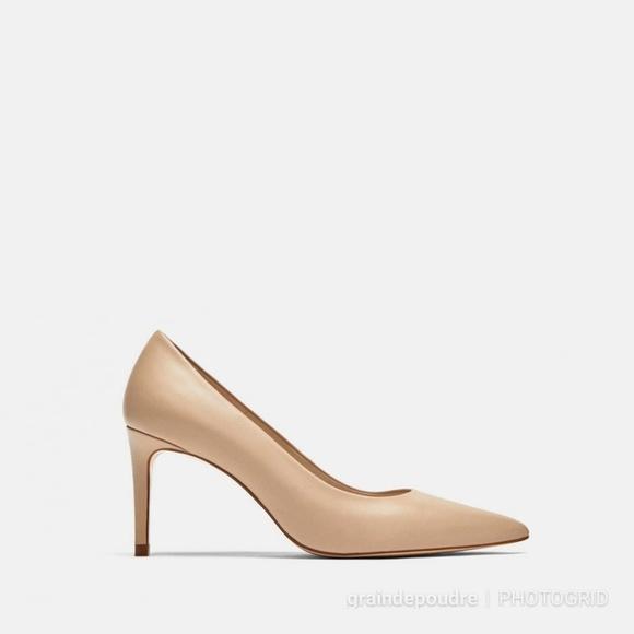 Zara Shoes | Zara Nude Leather Midi